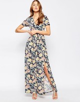 Club L Maxi Dress With Front Split In Floral Tile Print
