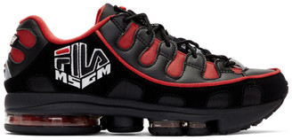MSGM Black and Red Fila Edition Silva Trainer Sneakers