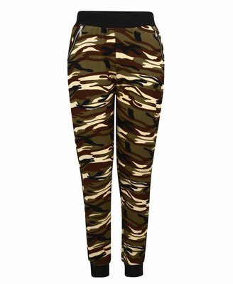 UK Women Casual Loose Camouflage Printed Harem Pants Camo Elastic Waist Trousers