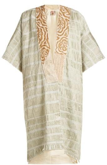 By Walid Aikiko Embroidered Cotton Kimono Style Jacket - Womens - Light Green
