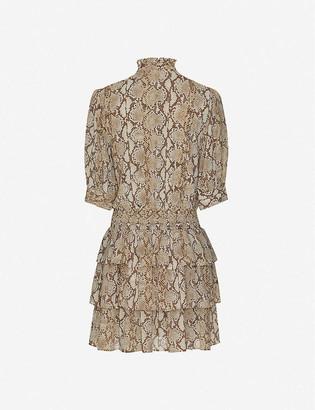 MICHAEL Michael Kors Snake-print tiered chiffon mini dress