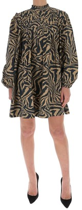 Ganni Tiger Swirl Print Mini Dress