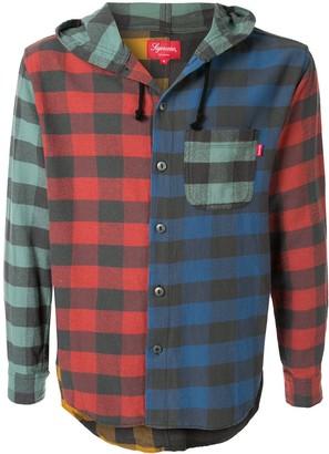 Supreme Hooded Plaid Flannel Shirt