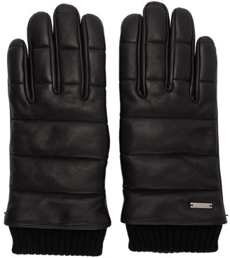 HUGO Black Leather 3D Stitching Gloves