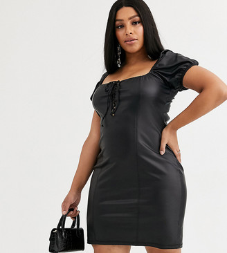 Asos DESIGN Curve leather look lace up puff sleeve mini dress in black