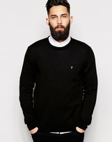 Farah Jumper In Merino Wool Crew Neck - Black