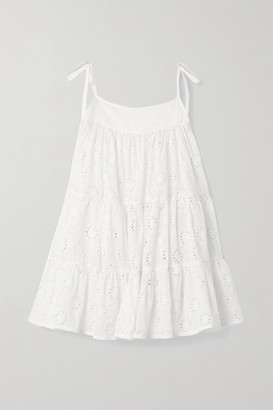 HONORINE Peri Tiered Broderie Anglaise Cotton-gauze Mini Dress - White