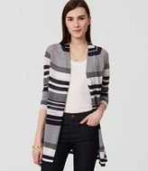 LOFT Striped Fine Knit Open Cardigan