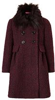 John Lewis Girls' Fur Collar Coat, Berry