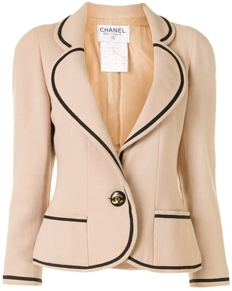 Chanel Pre Owned Contrast Piping Blazer