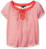 My Michelle Big Girls' Striped Tee Shirt with Solid Neckline and Tie Front