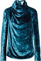 Maison Margiela Draped Crushed-velvet Top - Blue