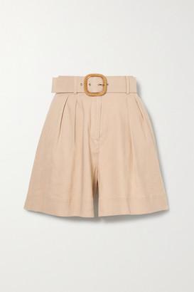 Rebecca Vallance Mojito Belted Linen-blend Shorts - Tan