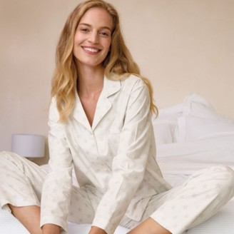 The White Company Cotton-Rich Herringbone Star Pyjama Set , White Grey, Large
