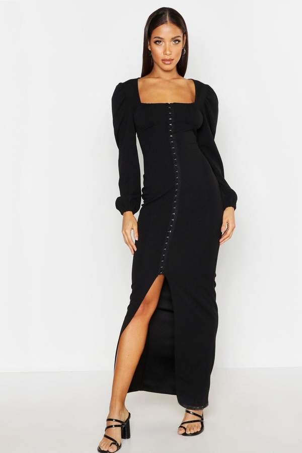 boohoo Peasant Hook & Eye Maxi Dress