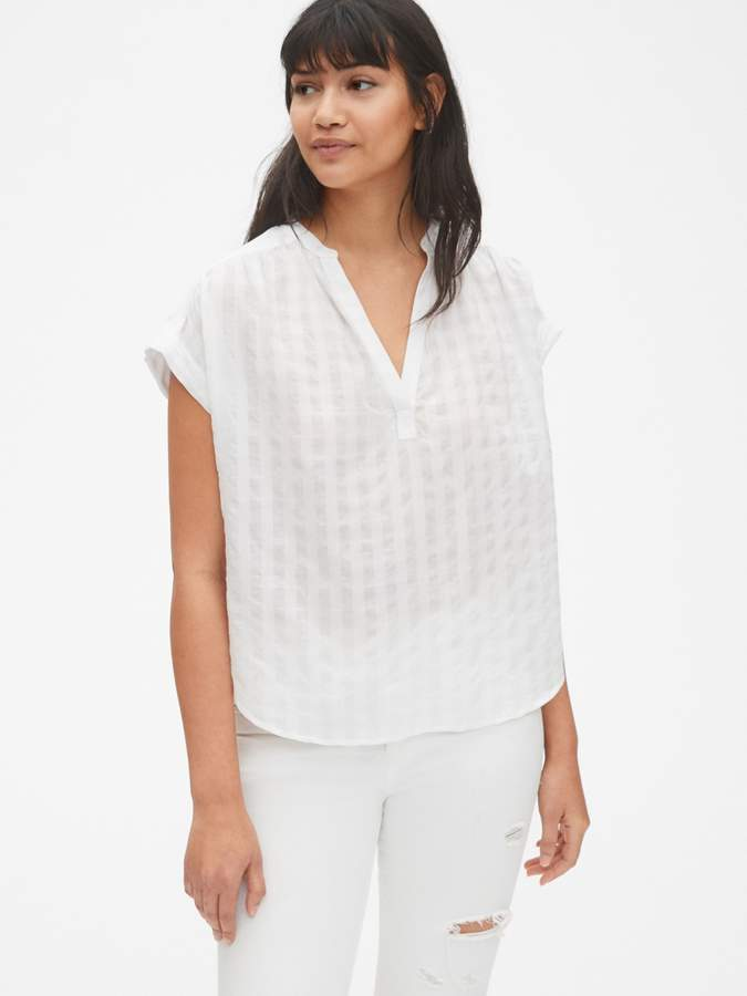 f11ca2c50b0 Short Sleeve Popover Shirt in Check Dobby