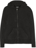 The Elder Statesman Plated Cashmere Hooded Top - Black