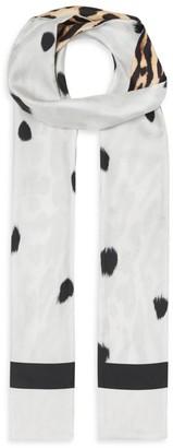Burberry Animal Print Silk Skinny Scarf
