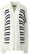 Lands' End Women's Drifter Cotton Stripe Sweater Coat-Eggshell White