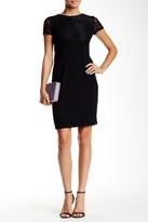 Maggy London Short Sleeve Geo Diamond Lace Sheath Dress (Petite)
