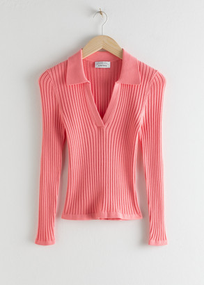 And other stories Ribbed V-neck Polo Knit Top