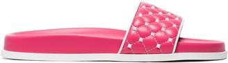 Valentino Pink Rockstud Spike Leather slides