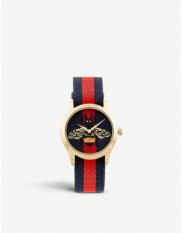 Gucci YA1264061 G-Timeless yellow gold-plated stainless steel and canvas watch