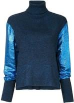 Cédric Charlier metallic knit turtleneck jumper