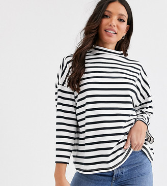 Asos Tall DESIGN Tall high neck structured top in stripe-Multi