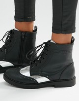 London Rebel Brogue Lace Up Ankle Boots