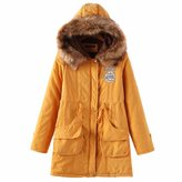 Paixpays Women Winter Parka Coat Thick Overcoat Jacket Pad Outwear Hooded Cotton-Padded