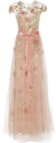 Marchesa Floral Beaded Embroidered A-Line Gown