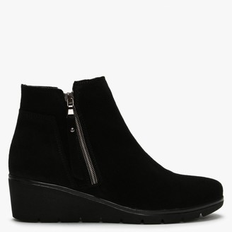 Lollis Black Suede Low Wedge Ankle Boots