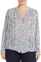 Lucky Brand Plus Smocked Floral Print Blouse