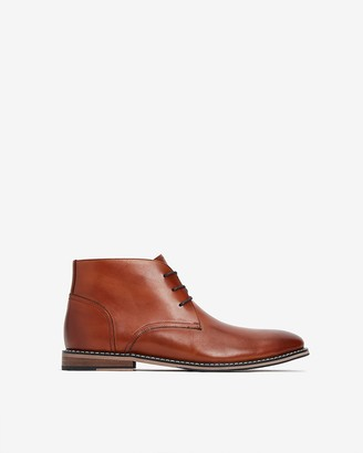 Express Cognac Leather Chukka Boots