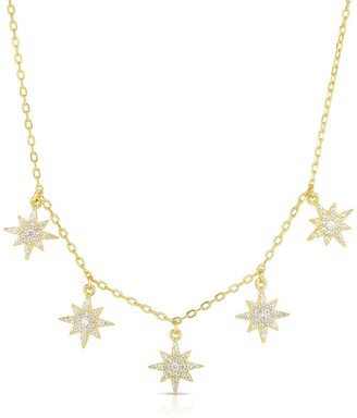 Sphera Milano 14K Yellow Gold Plated Sterling Silver CZ Starburst Charm Necklace