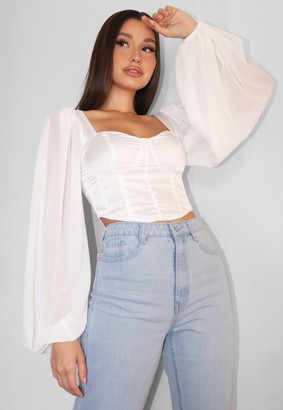 Missguided White Satin Balloon Sleeve Corset Crop Top