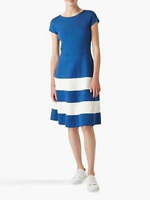 Hobbs Lizzie Stripe Flared Dress, Cobalt/White