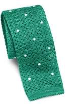 Isaia Dot Knit Cotton Tie
