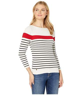 Lauren Ralph Lauren Cotton-Blend Boat Neck Sweater (Mascarpone Cream/Lipstick Red/Polo Black) Women's Clothing