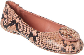 Tory Burch Minnie Snake-Embossed Leather Travel Ballet Flat