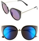 BP Women's 64Mm Round Cat Eye Sunglasses - Black/ Blue