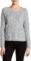 Cotton Emporium Long Sleeve Cable Front Pocket Crew Sweater (Petite)