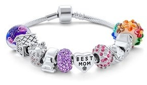 Overstock Wife Best MOM Mother Colorful Family Beads Starter Charms Bracelet