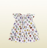 Gucci White Cotton Muslin Overall With Cupcakes Print