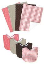 Trend Lab 8 Piece Bib and Burp Cloth Set - Coral
