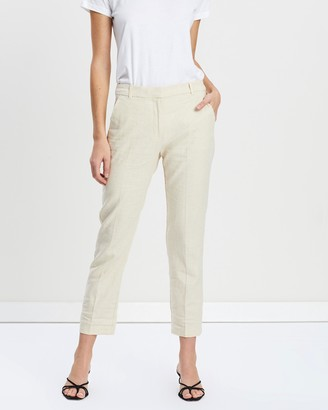 Mng Straight Linen-Blend Trousers
