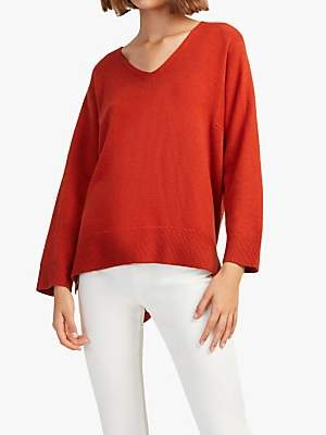 French Connection Ebba Vhari V-Neck Jumper, Firewood