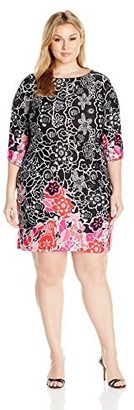 Notations Women's Plus Size Printed Angel Sleeve Scoop Neck Dress