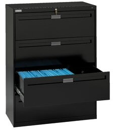 """Tennsco Corp. 4-Drawer Vertical Filing Cabinet Pull Type: Long Pull, Size: 51.25"""" H x 30"""" W x 17.94"""" D, Finish: Black"""
